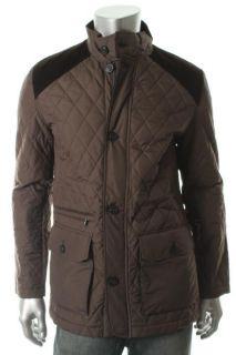 Tasso Elba New Brown Quilted Water Repellent Zip Button Front Coat