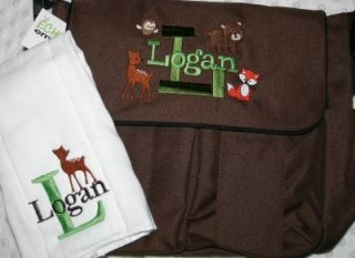 Personalized Baby Diaper Bag 4 Bag Colors Burp Cloth Owl Farm Car