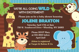 Jungle Themed Baby Shower Invitations Set of 20