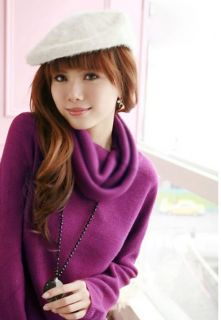 Fashion Women Tight Purity Cowl Neck Casual Basic Jumpers Top Shirt