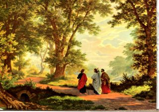 Road to Emmaus with Jesus Print Card on Woodboard 4 1 4 x 6 Unique