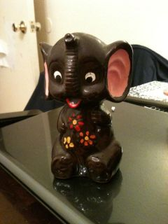 Vintage Brown Ceramic Hand Painted Elephant Coin Piggy Bank