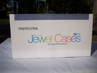 Memorex Slim Clear Jewel Cases 50 Pack for DVD CD Blu Ray Media