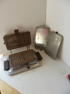 Wood Montgomery Ward Electric Waffle Iron Converts Into Griddle