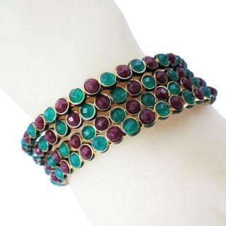 Kundan Enamel Bangle Set Gold Kada Bracelet Indian Wedding Jewelry New