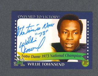 Willie Townsend Signed Notre Dame 1973 Champions Card