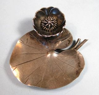 1952 A Michelsen Gertrude Engel Rougie Sterling Lilly Pad Pin Sweden