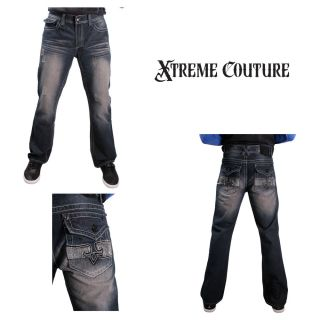 Xtreme Couture Cooper Mens Distress Denim Jeans Boot Cut