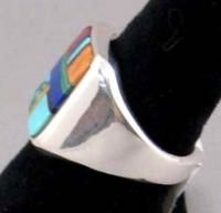 Native Navajo E Yazzie Sterling Turquois Inlay Ring S11