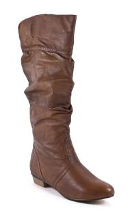 Candence Womens Leather Brown Tan Slouch Boots Shoes 8 New