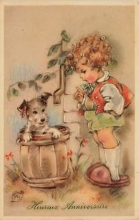 Artist Signed Erna Maison Birthday Girl Dog Rain Barrel Vintage
