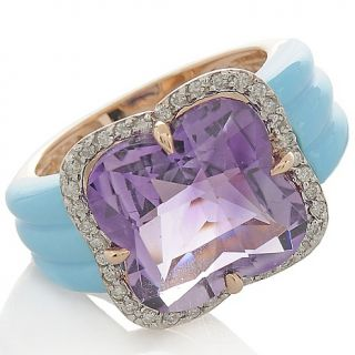 Heritage Gems Amethyst, Sleeping Beauty Turquoise and Diamond 14K Rose