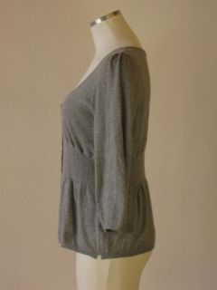 Anthropologie Guinevere Grey Cotton Cashmere Pleated Peplum Cardigan