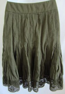Edme Esyllte Anthropologie Crinkle Gored Dark Green Skirt 6 100 Cotton