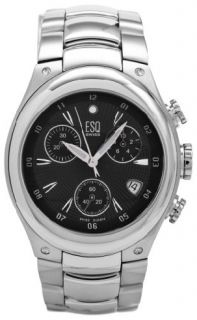 Esq by Movado Mens Black Dial Chronograph Stainless Steel Watch