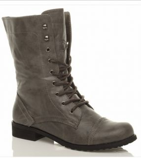 WOMENS LADIES MILITARY LACE UP ARMY COMBAT ANKLE BOOTS SIZE 8