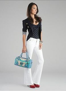Guess Elma Satchel Handbag Box Tote Croco Blue Handbag