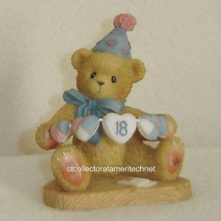 Cherished Teddies Birthday Bear Age 18 2000 European EX
