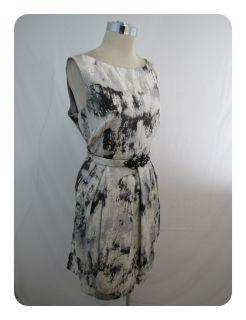 New Eliza J Silver Jacquard Belted Jewel Neck Tulip Skirt Pocket Dress