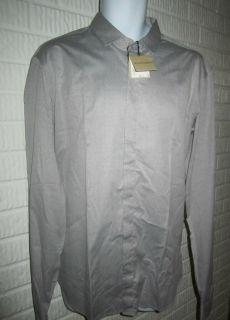 Burberry Mens Light Gray Long Sleeve Shirt Sepworth 16 41EU Retail