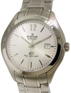 Edox Class 1 Date Automatic Swiss Watch 42.5m Stainless Steel/White
