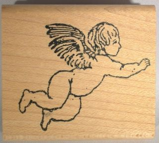 New Victorian Cherub Flying Angel w Wings Rubber Stamp