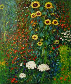 Gustav Klimt Garden with Sunflowers Repro Hand Painted Oil Painting