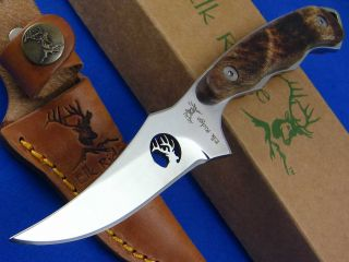 Elk Ridge Fixed Blade Hunting Skinning Burl Wood Handle Fixed Blade