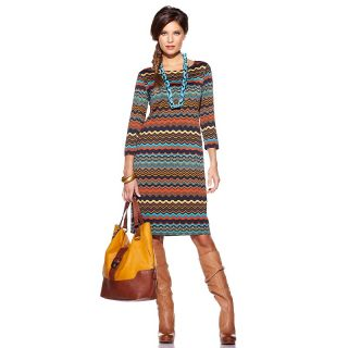 Tiana B. Show Off Color Printed Boat Neck Dress