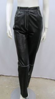 EMANUEL UNGARO PARALLELE LEATHER PANTS BLACK WHITE STITCHING NOT LOW