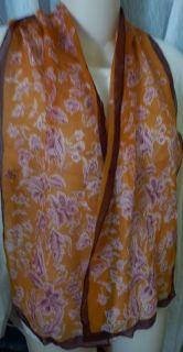 Ellen Tracy Floral Chiffon Silk Scarf