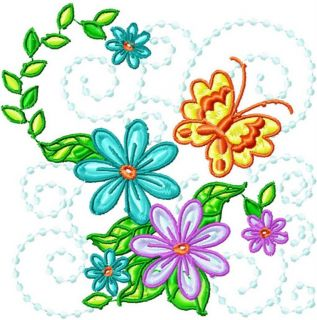 Butterfly Flower Blocks 10 Machine Embroidery Designs