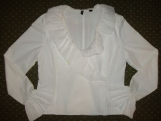 Ellen Tracy White Ruffle V Neck Blouse Top 10
