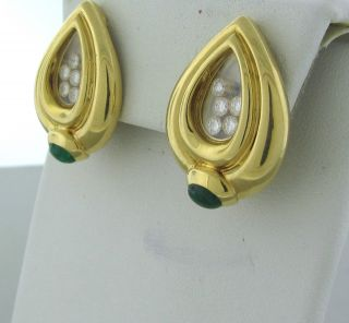 Estate Chopard 18K Gold Diamond Emerald Earrings