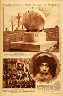 Rotogravure Peary North Pole Arlington Cemetery Portrait Washington DC