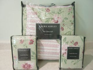 Laura Ashley Emily Green Pink Rose Floral Full Queen Quilt Set 3pc