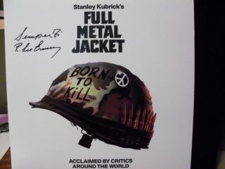 Metal Jacket Marine Gunny R Lee Ermey Signed Laser Disc Display