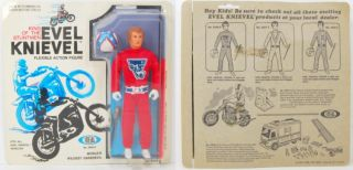 evel knievel 1972 ideal moc figure red suit rare helmet
