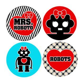 Robot Girl Button Set Pin Badge Heart Sci Fi Cute Emo
