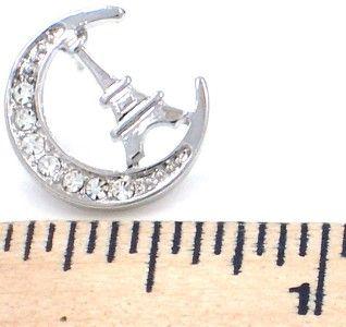 New Eiffel Tower Moon Silver Tone Crystal Stud Earrings Paris