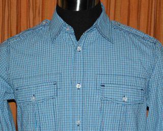 Eighty Eight Long Sleeve Blue White Checkered 100 Cotton Shirt Mens