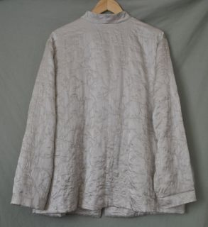 EILEEN FISHER PALE GRAY EMBROIDERED SILK JACKET sz. 2X Plus Womens