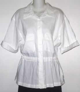 Eileen Fisher gorgeous white camp shirt with drawcord waist Sz S NWT $
