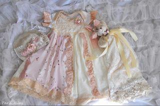 Winter Friends French Lace Dress Hat Teddy Bear 4 Reborn Baby Doll