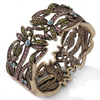 Heidi Daus Crystal Accented Dancing Dragonflies Bangle Bracelet at