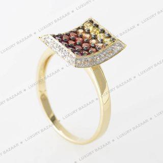 LeVian 14k Yellow Gold Multi Sapphire and Diamond Ring