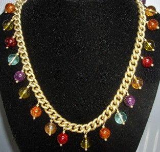 RARE Evita Peroni Gold Tone Curb Link Multi Color Lucite Bead Pendant