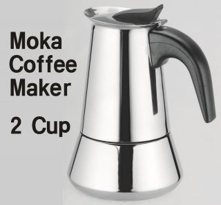 2Cup Stainless Steel Moka Espresso Coffee Maker Stove Top