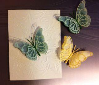 THREE BEAUTIFUL YELLOW AND GREEN THREE PLY BUTTERFLIES MEMORY BOX DIES