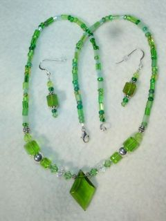 Emerald Isle Green Deco Glass Crystal premier Necklace Earrings